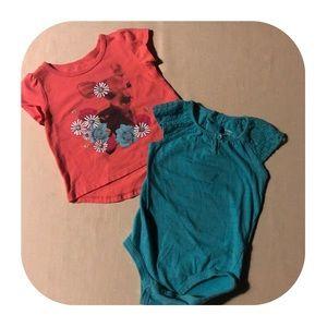 5/$10 2 Short Sleeve Top Bundle Girls 18M